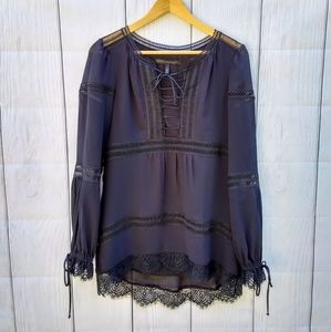 WHBM black lace long sleeve blouse